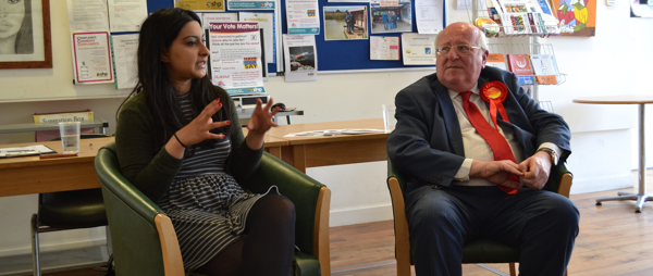 Farah Hussain and Mike Gapes at Jason Lee House